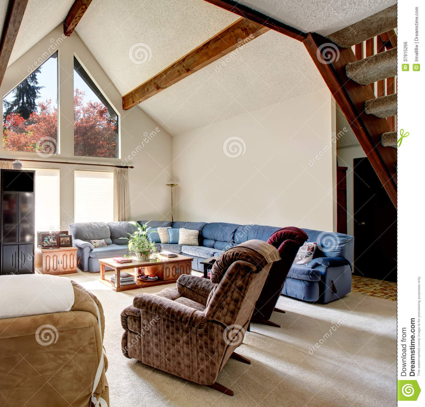 cabin style living room furniture for small with fireplace big log rocky wall design stock photo