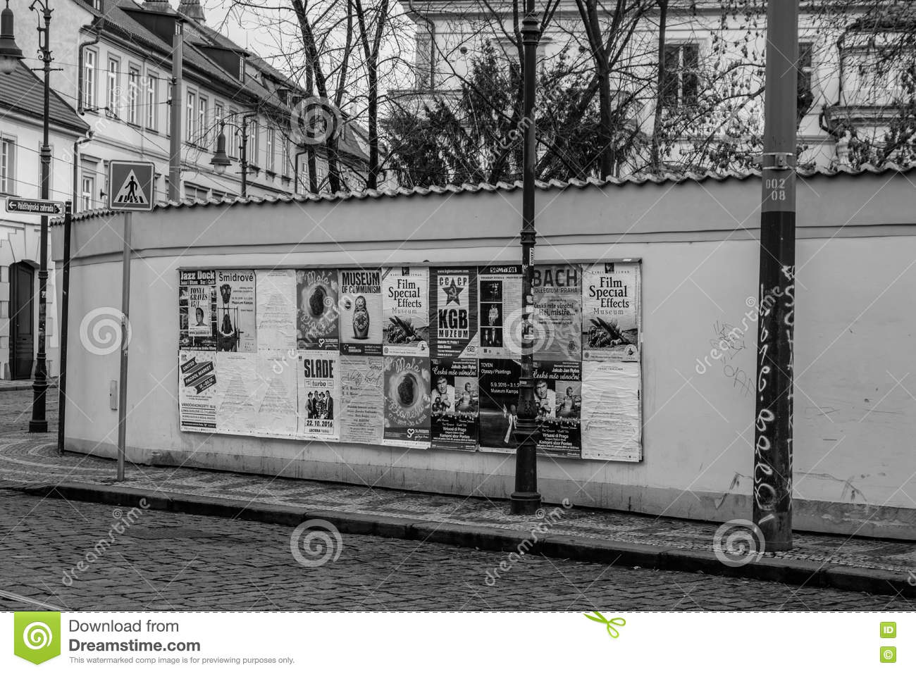 big poster board with peeling off posters in prague editorial photo image of graffiti artistic 77515586