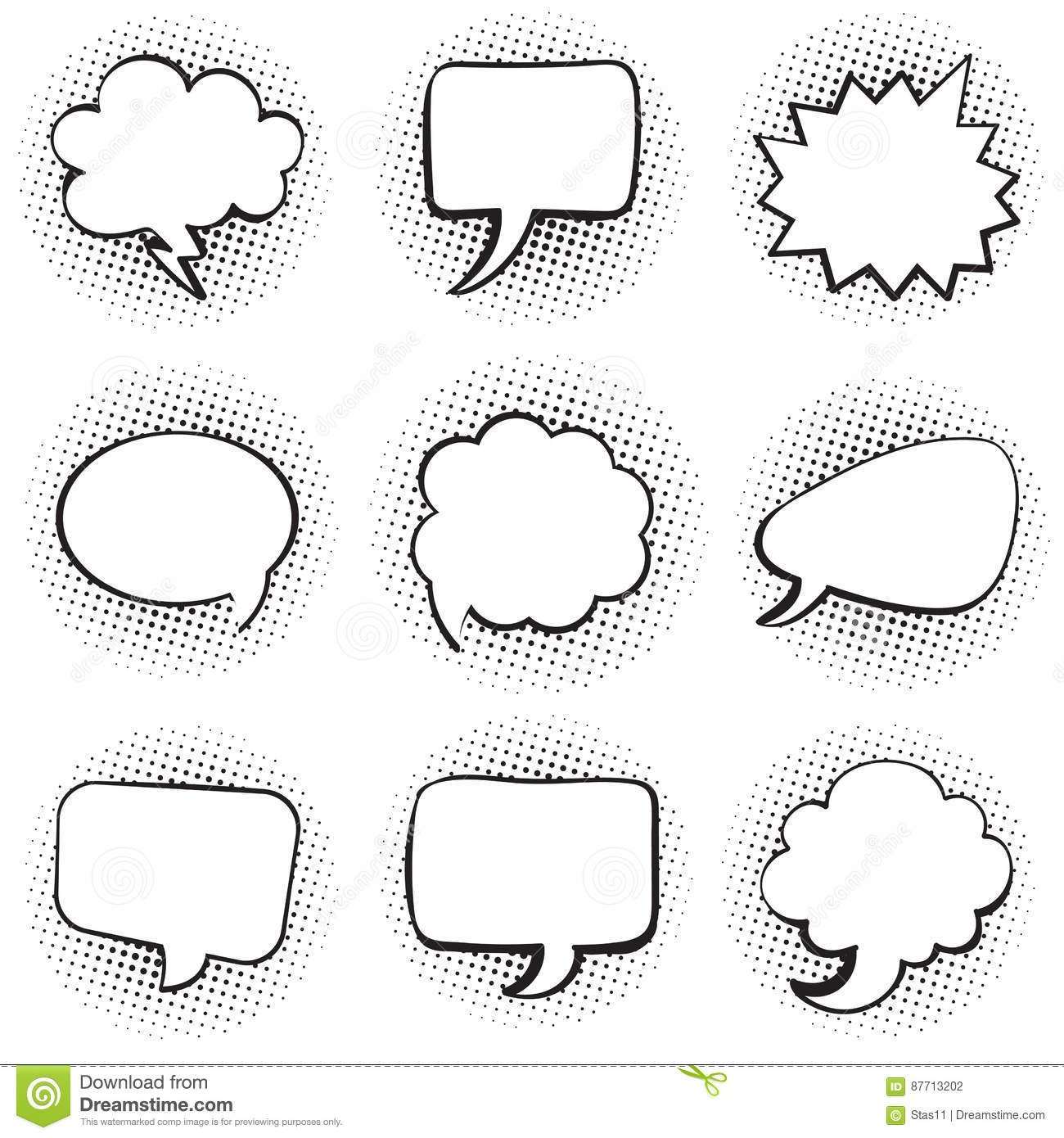 Big Set Of Blank Template Comic Text Speech Chat Bubble