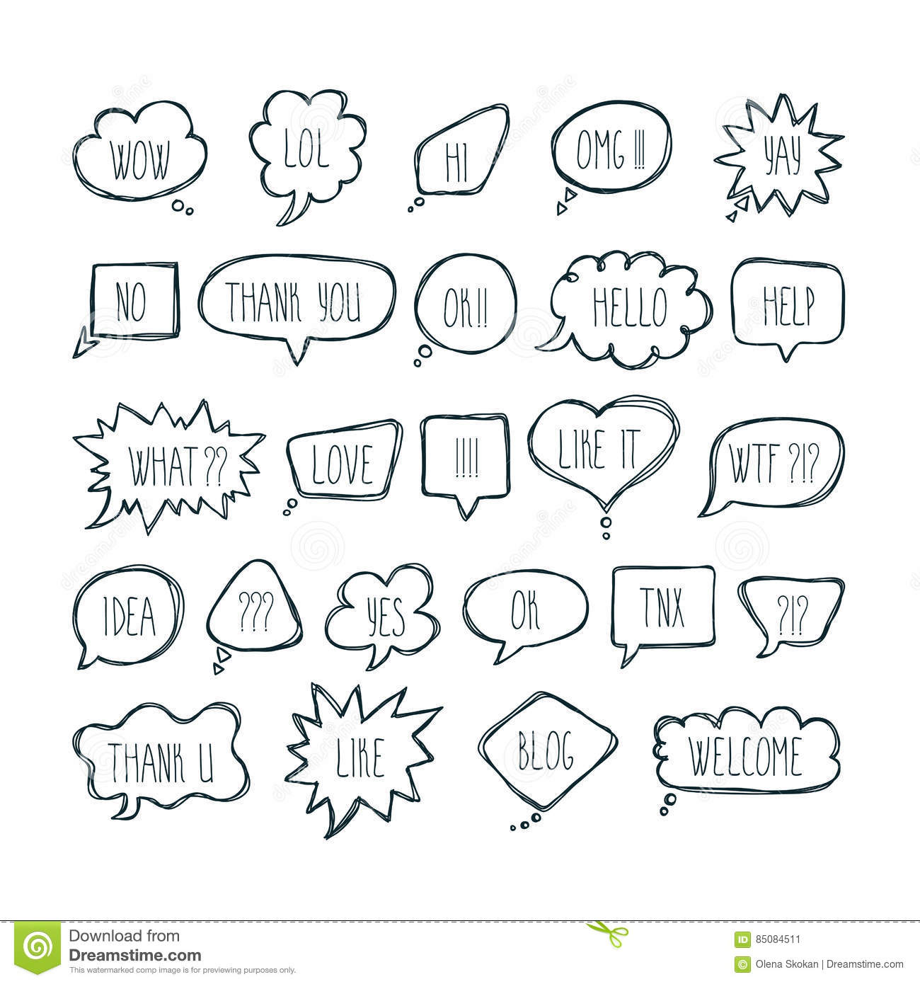 Big Set Of Comic Bubbles With Short Messages. Hand Drawn