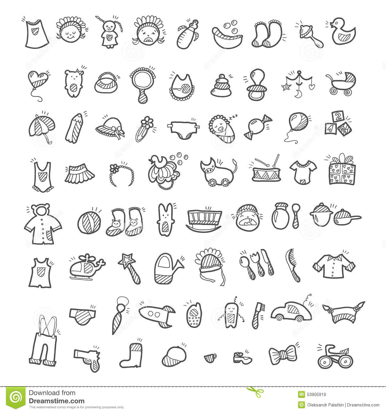 Big Set Of Handwritten Icons Of Childhood Things Stock