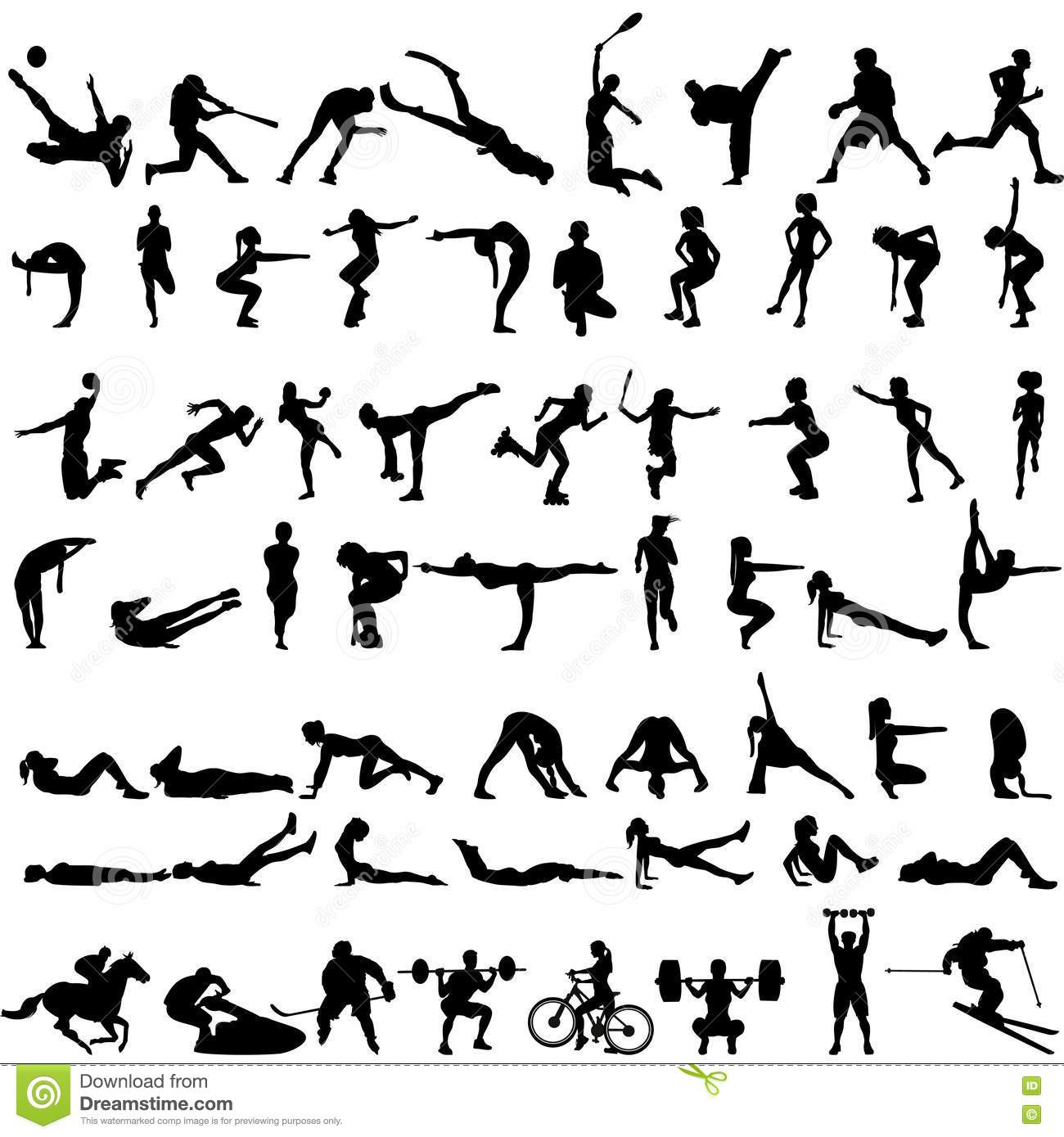 Big Set Of Sport Silhouettes Of Men And Women Stock Vector