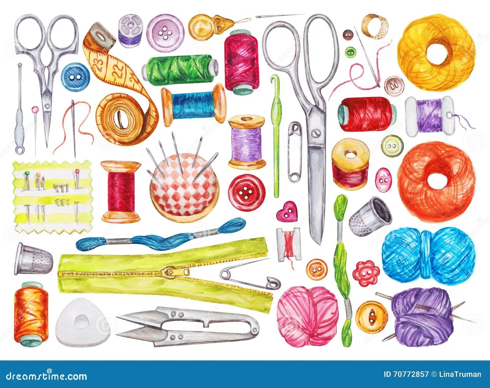 Big Set Of Various Watercolor Sewing Tools Sewing Kit