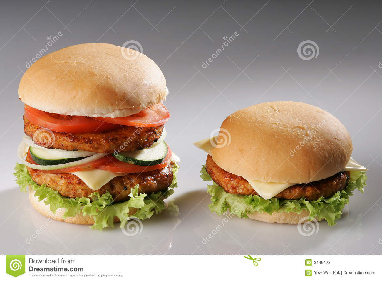Big And Small Burger Stock Photos