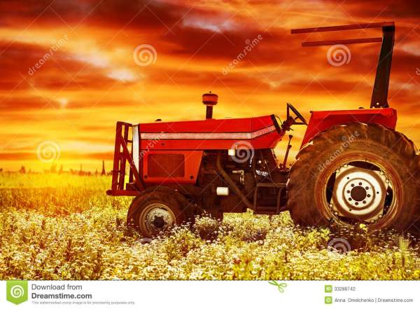big tractor sunset stock