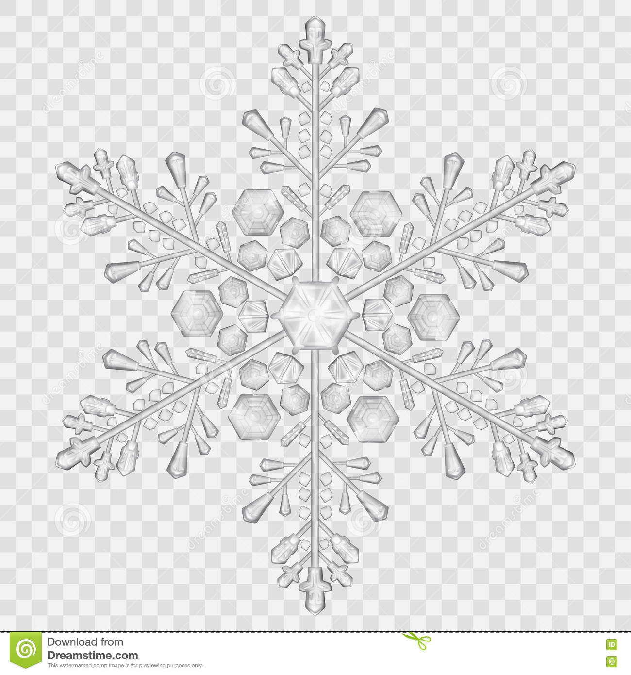 Big Translucent Crystal Snowflake Stock Vector