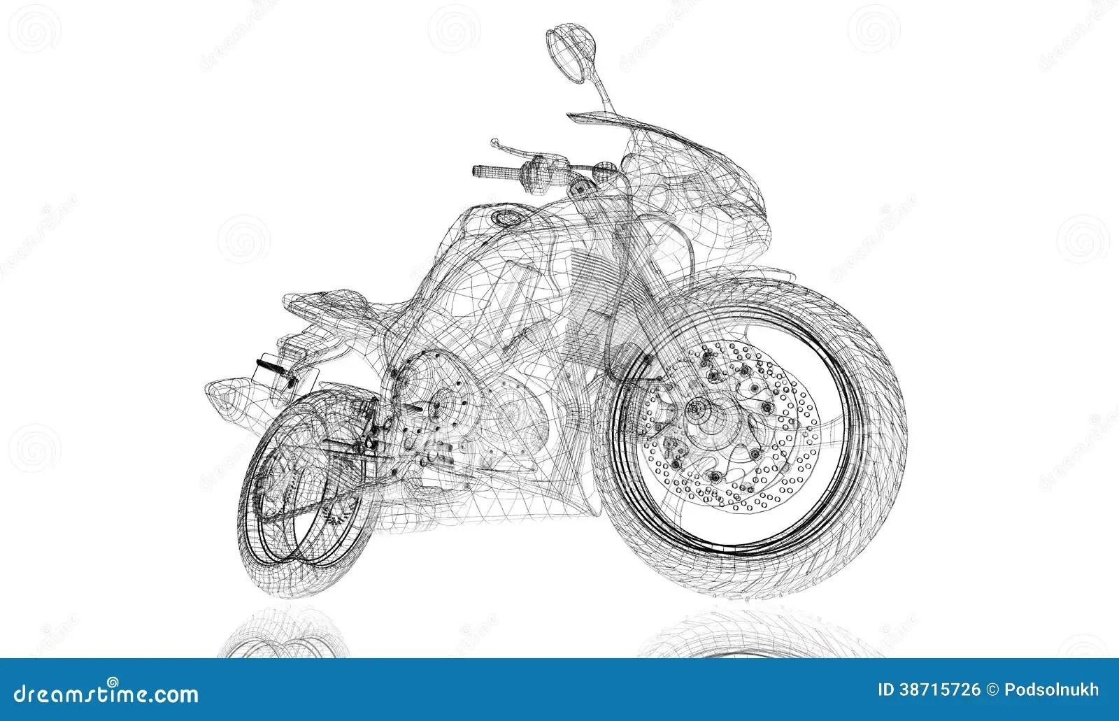 Bike Motorcycle 3d Model Stock Illustration