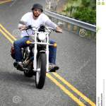 Biker Rides Curvy Road Editorial Photo Image Of Frontal 31317406