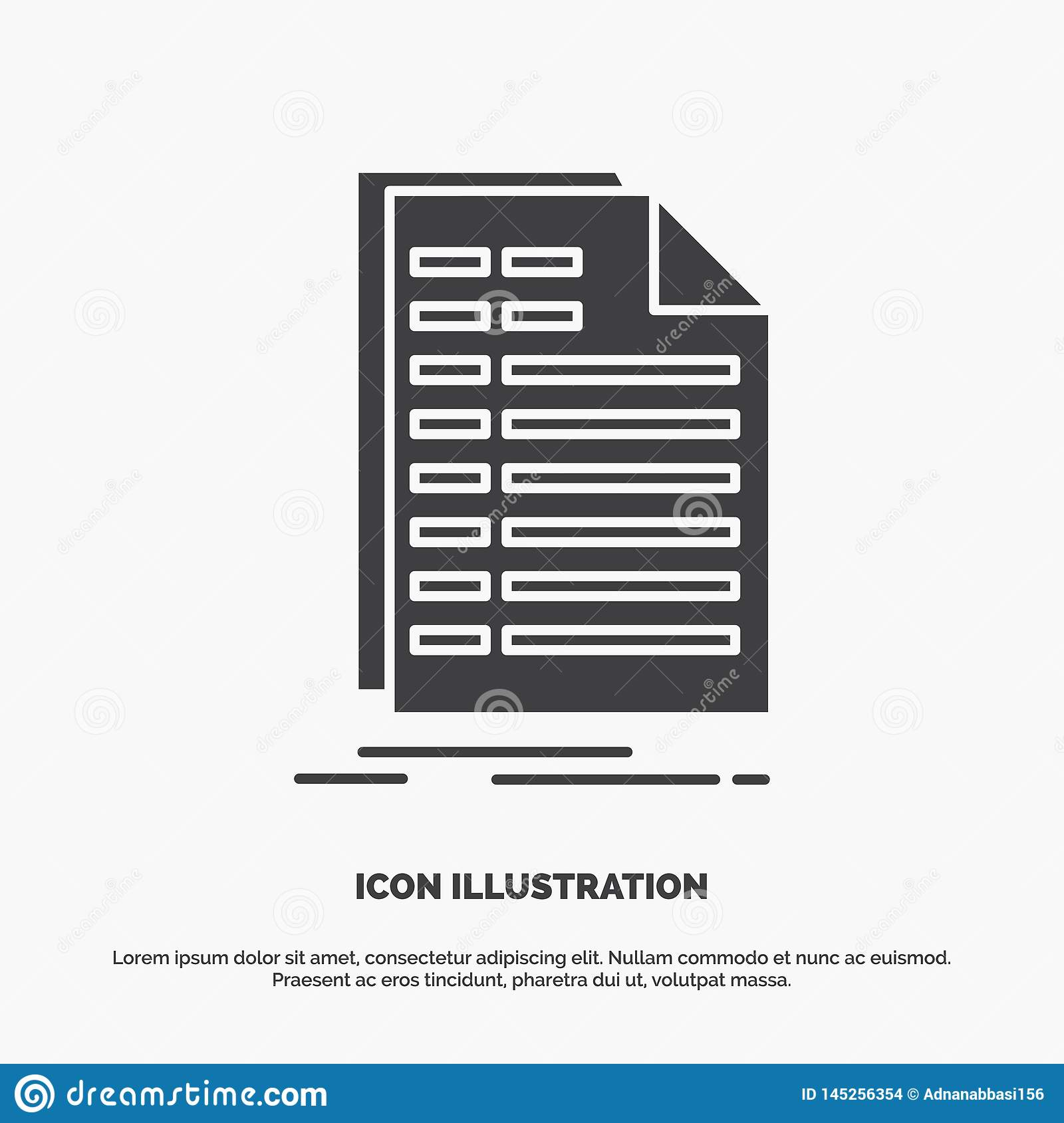 Bill Excel File Invoice Statement Icon Glyph Vector