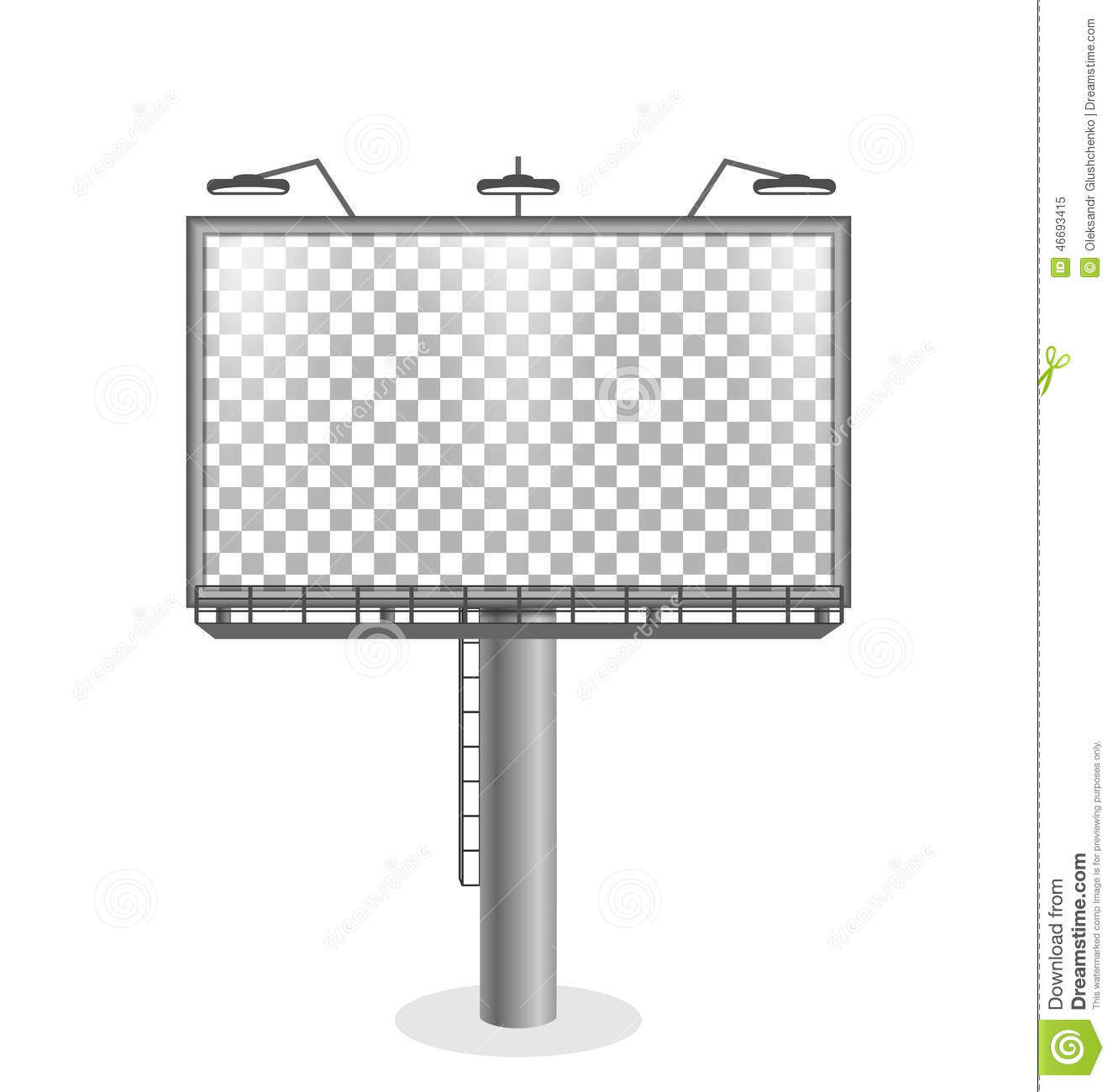 City Billboard Isolate On White Background Royalty-Free