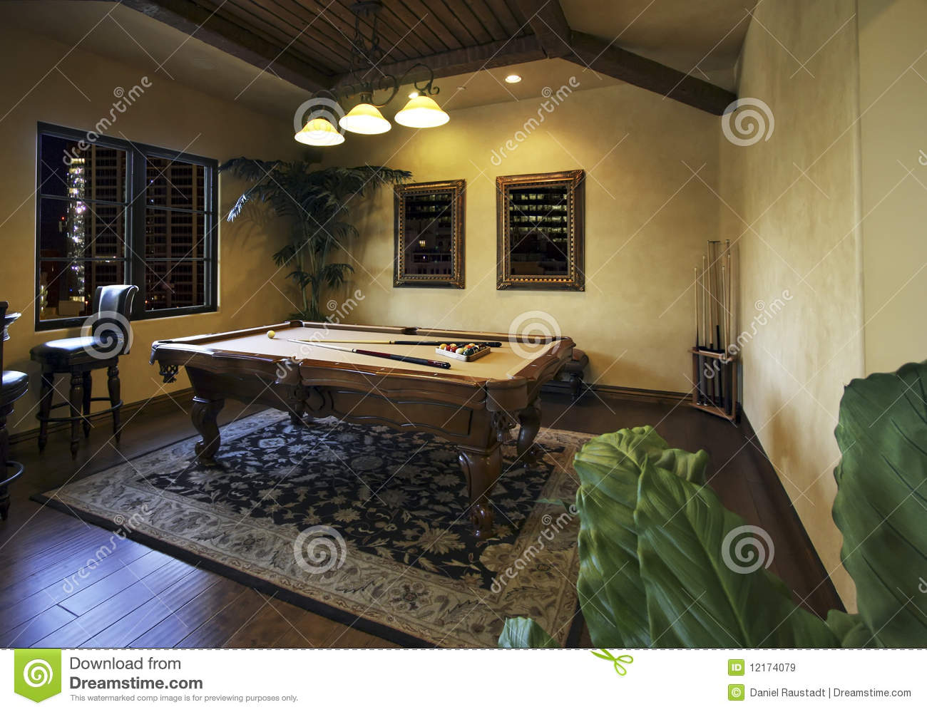 Billiards Game Room After Dark Royalty Free Stock Images  Image 12174079