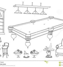 set of vector sketch hand paind furniture for relaxation and playing billiard room and bar stand for cues and balls table seats in black lines on white  [ 1300 x 957 Pixel ]