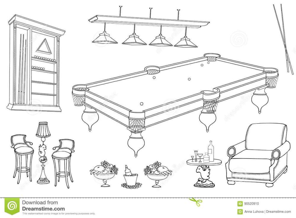 medium resolution of set of vector sketch hand paind furniture for relaxation and playing billiard room and bar stand for cues and balls table seats in black lines on white