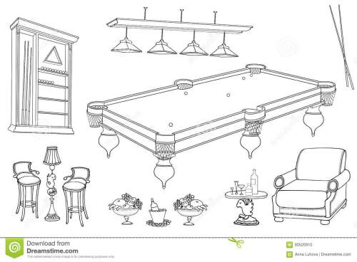 small resolution of set of vector sketch hand paind furniture for relaxation and playing billiard room and bar stand for cues and balls table seats in black lines on white