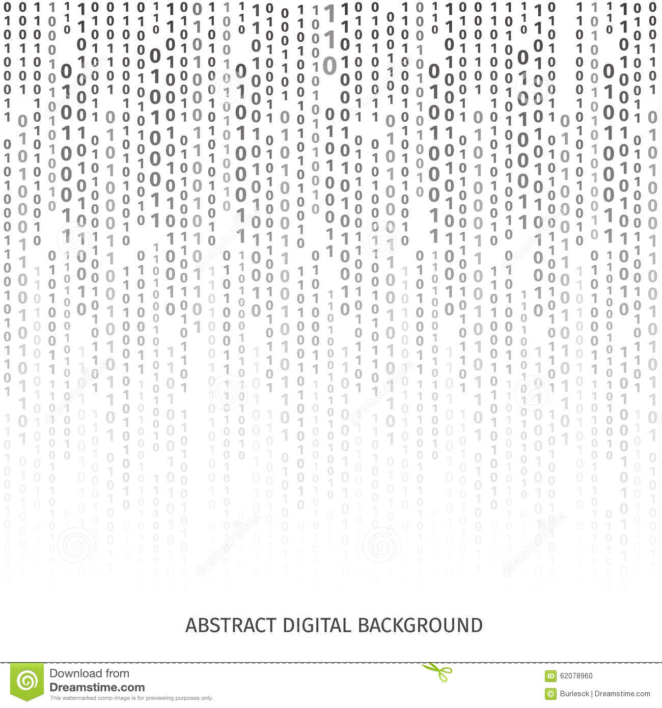 Binary Code Black And White Background With Digits Stock