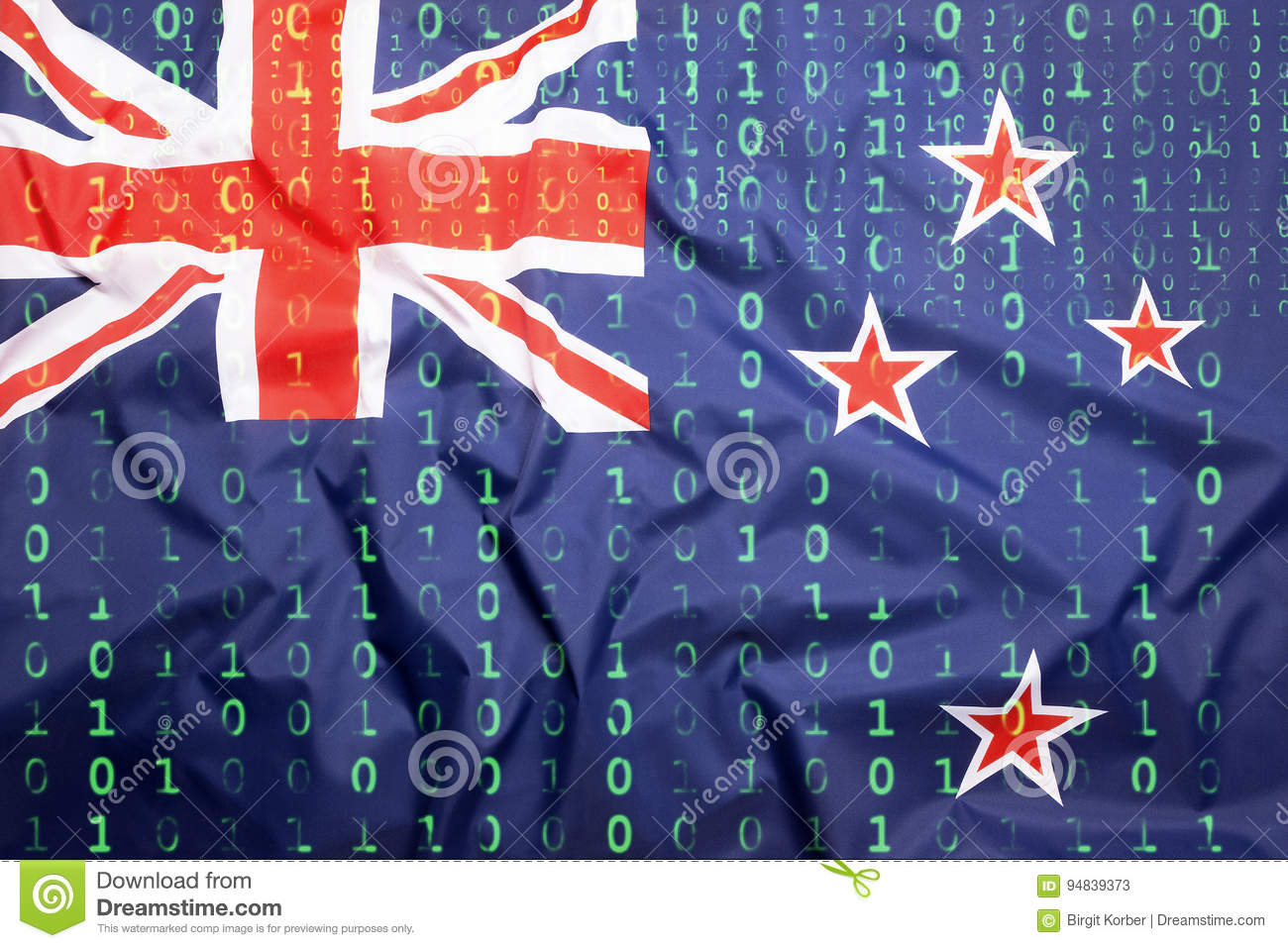 Binary Code With New Zealand Flag. Data Protection Concept Stock Image - Image of protection. information: 94839373