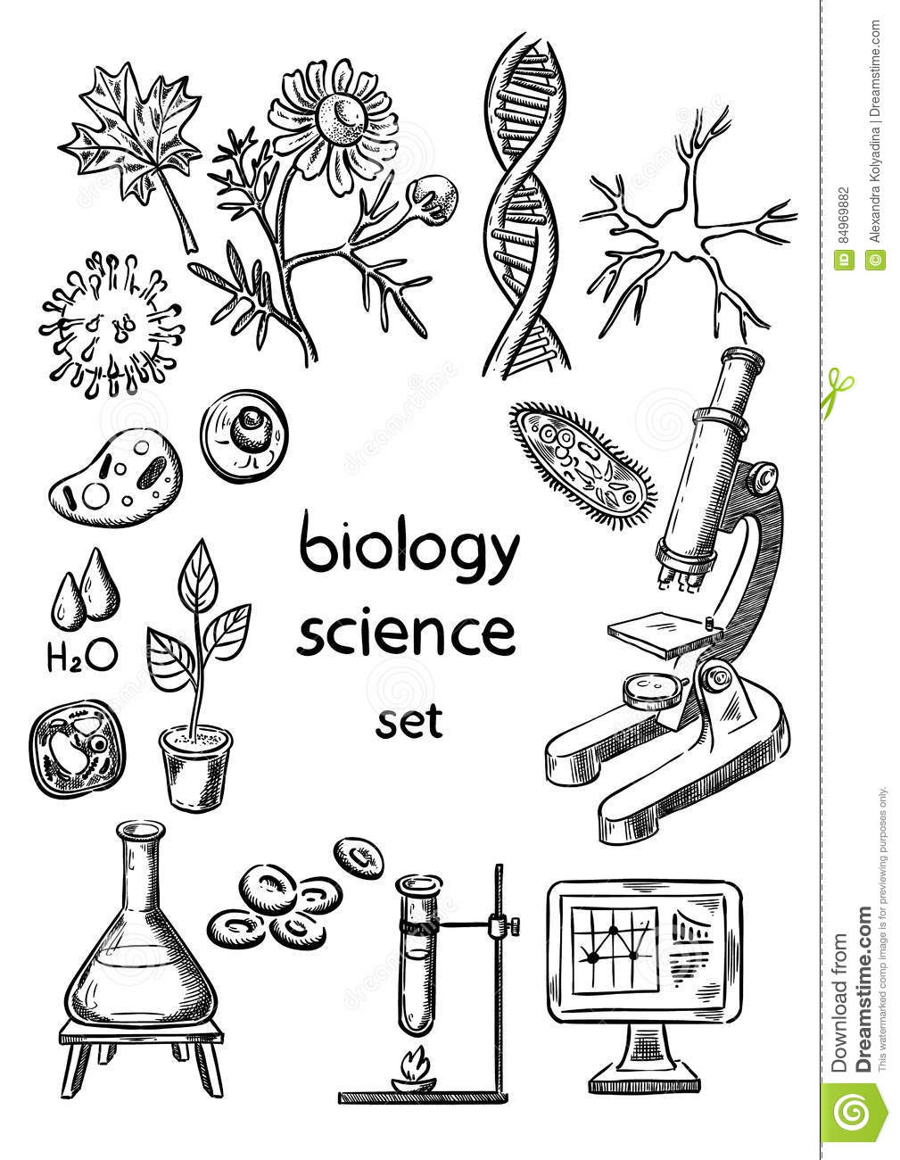 Biological science set stock illustration. Illustration of
