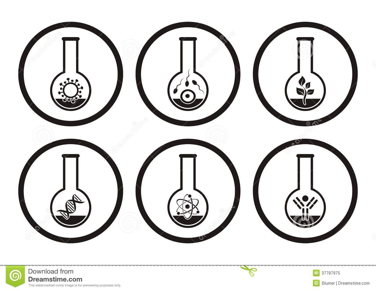 Biology icons stock vector. Image of biochemistry, genome