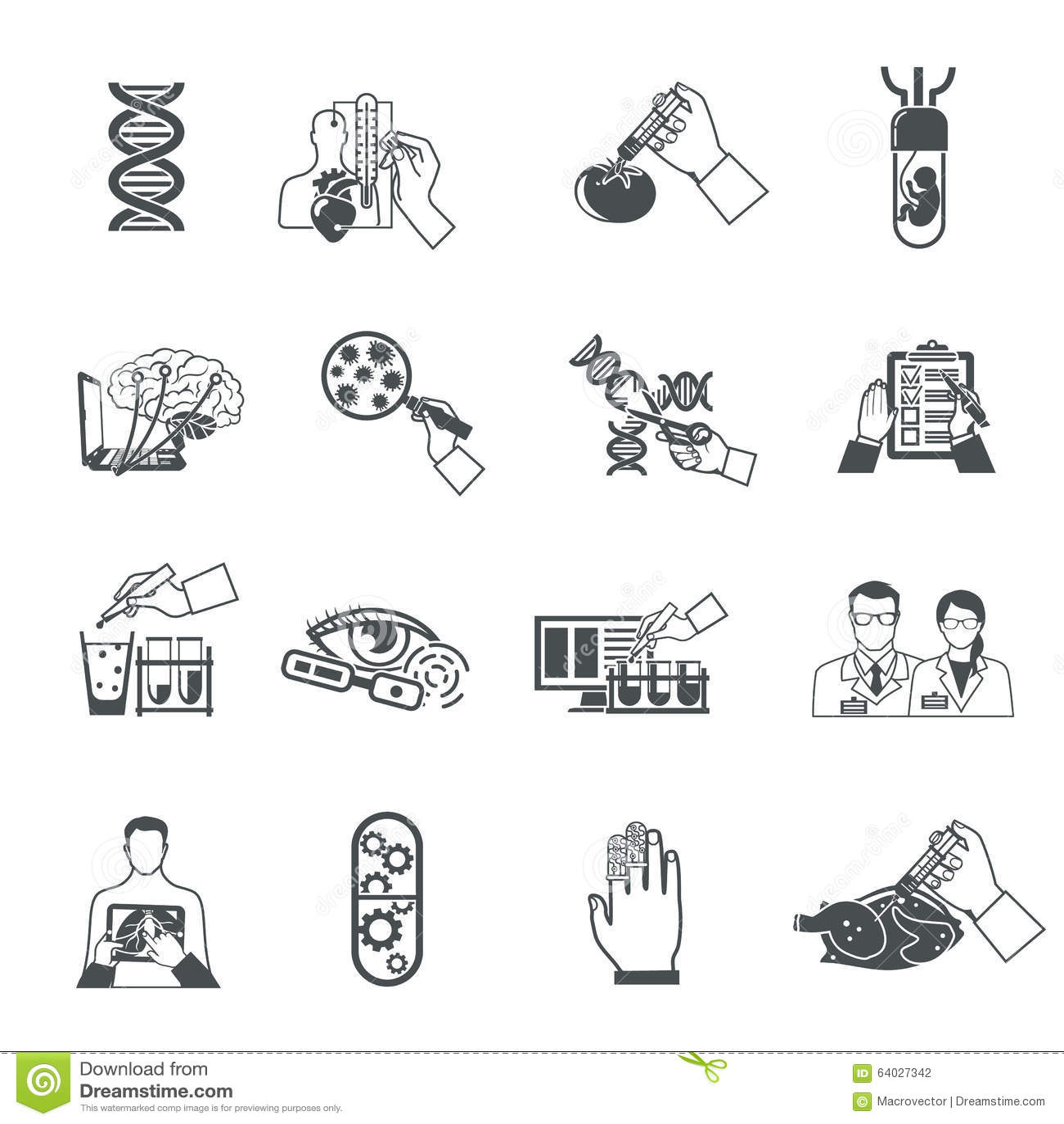 Flat Biotechnology Icons Set Cartoon Vector