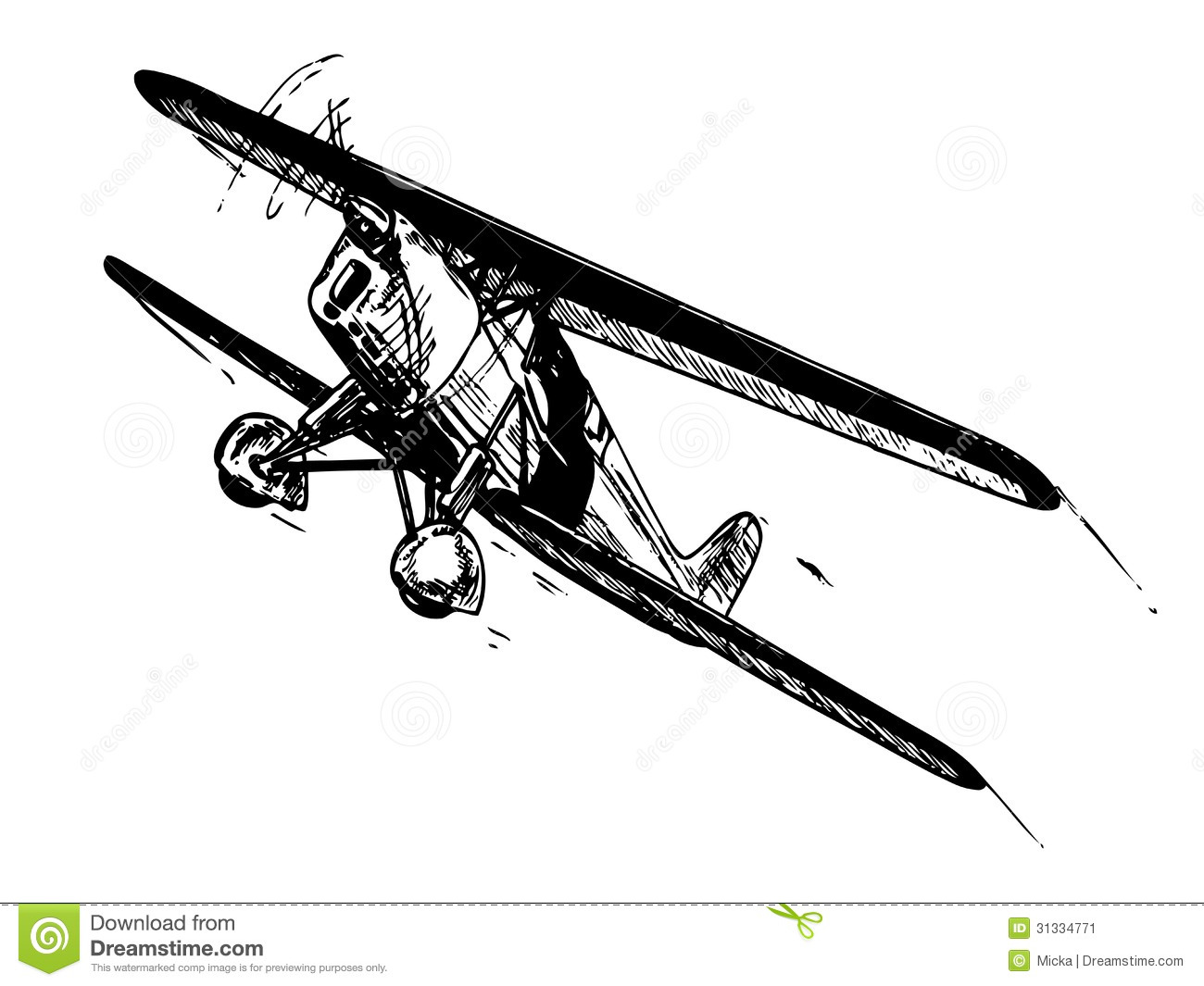 Biplane In Flight Stock Image