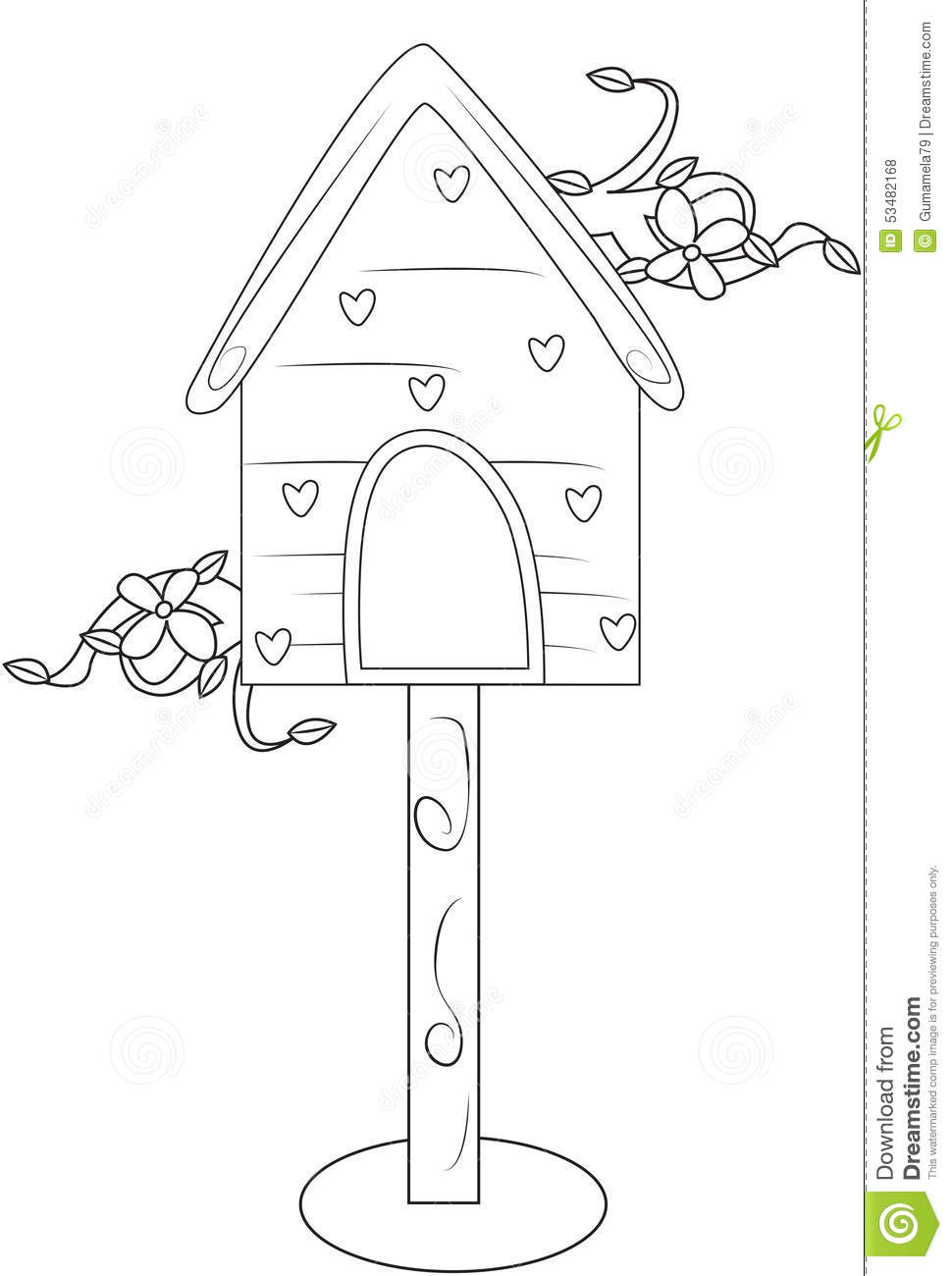 Bird's house coloring page stock illustration