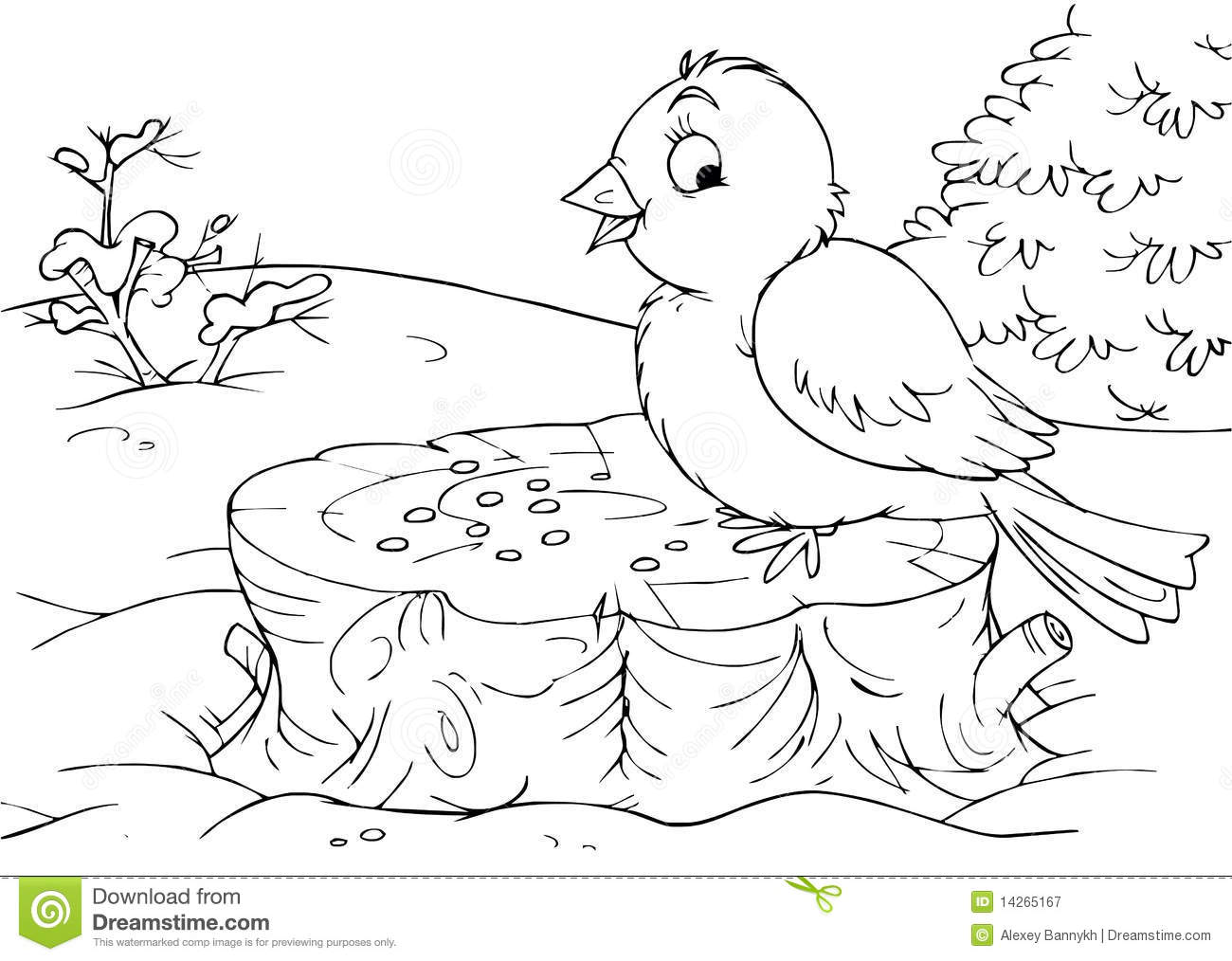 Bird sitting on a stump stock illustration. Illustration