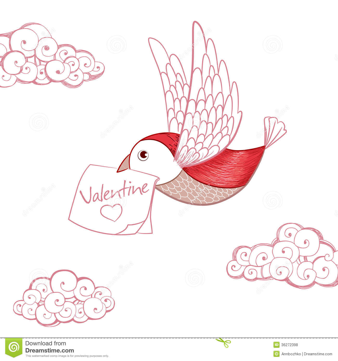 Bird With Valentine Card Stock Vector Image Of Clouds