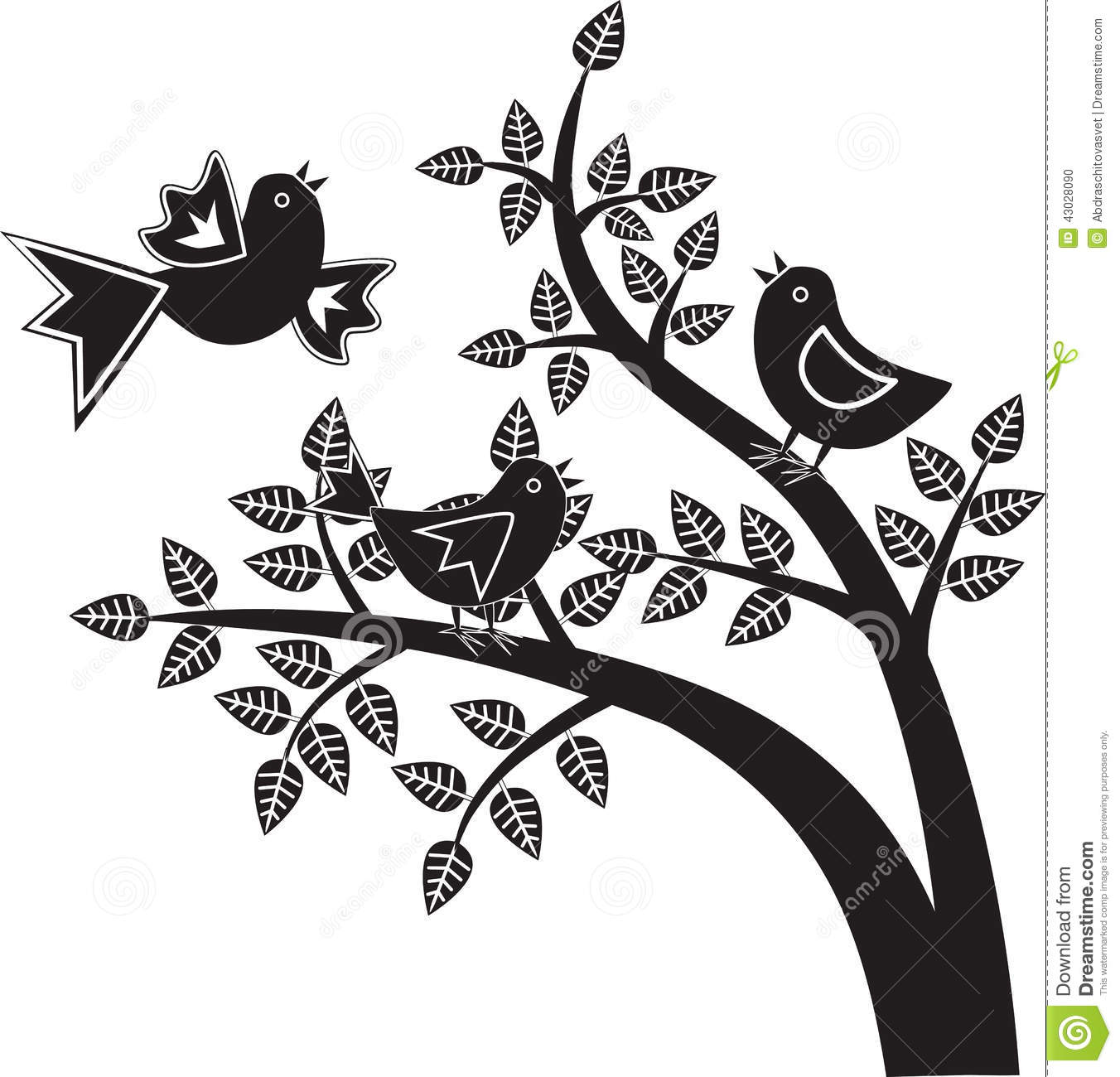 Birds Black And White Graphics Stock Vector