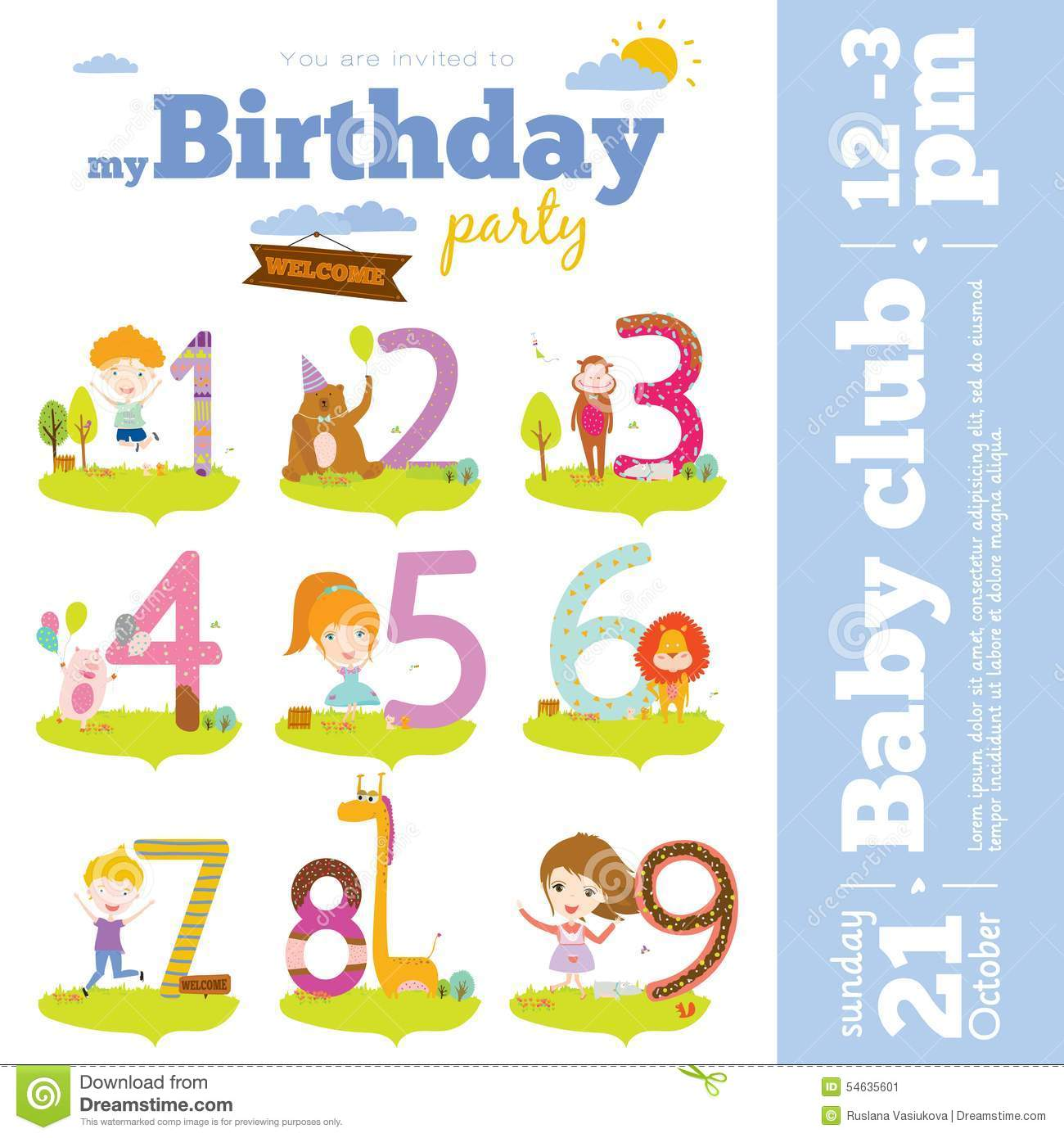 Birthday Anniversary Numbers With Animals And Kids Stock