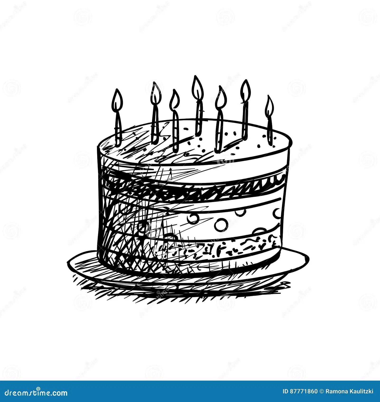 Birthday Cake Drawing Stock Illustration Illustration Of Design
