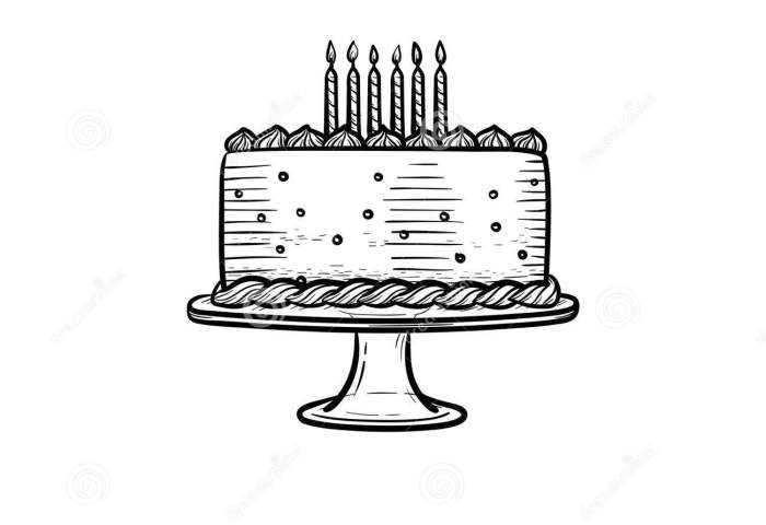 Birthday Cake Hand Drawn Sketch Icon Stock Vector Illustration Of