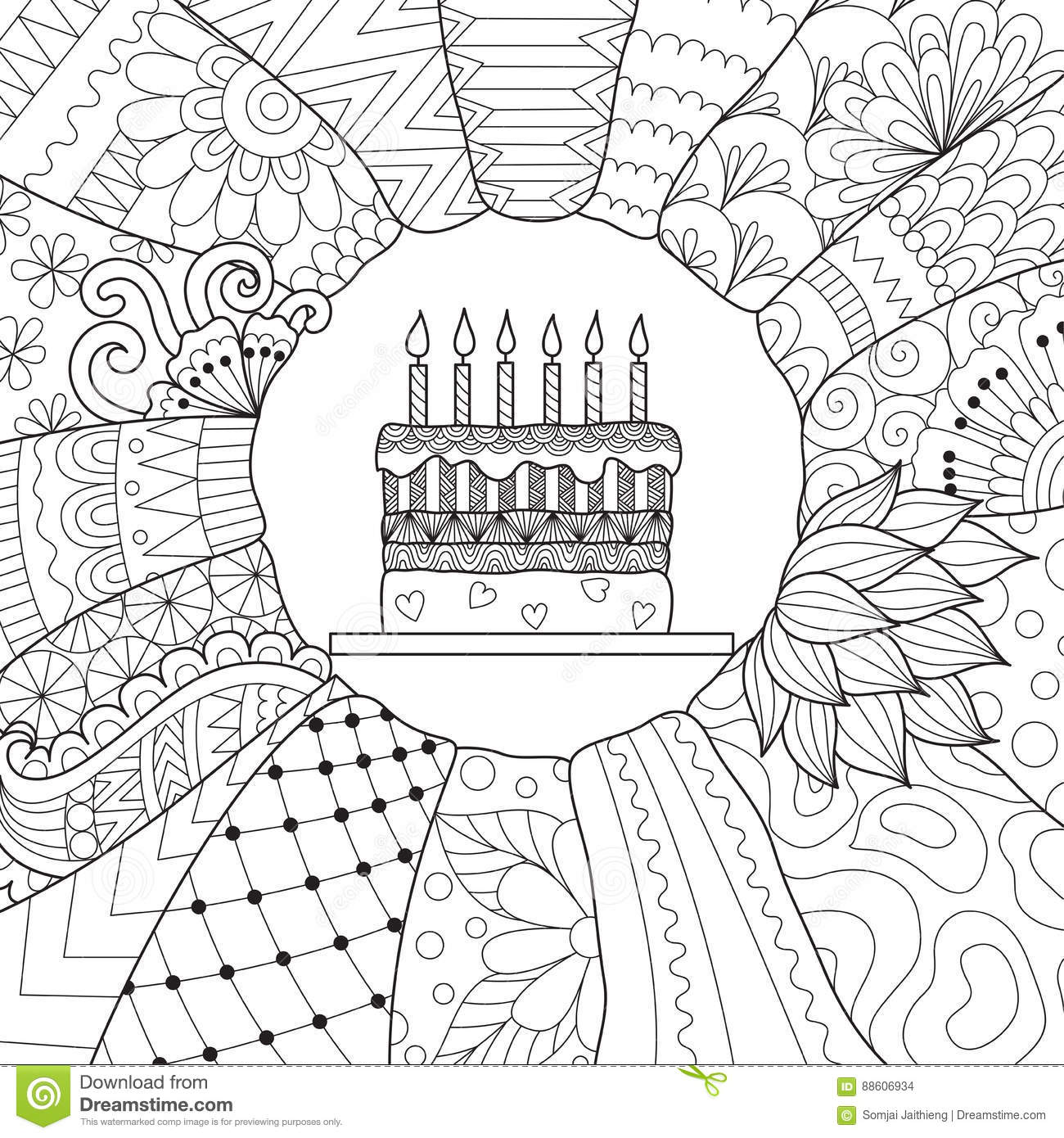 Birthday cake stock vector. Illustration of book, coloring