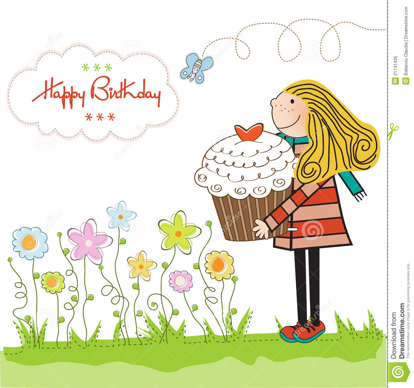 Birthday Card With Blonde Girl And Cupcake Stock Image