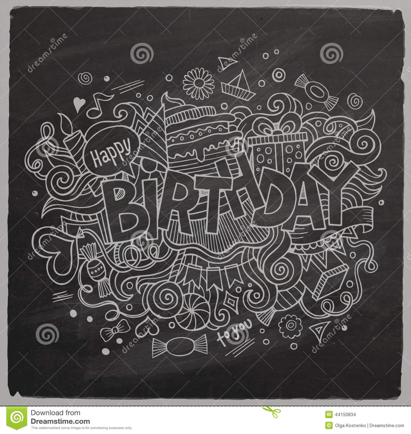 Birthday Chalkboard Background Stock Vector Illustration