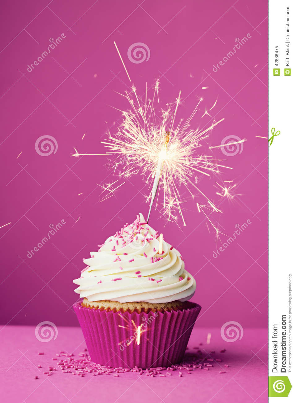 Birthday Cupcake With A Sparkler Stock Photo Image 42886475