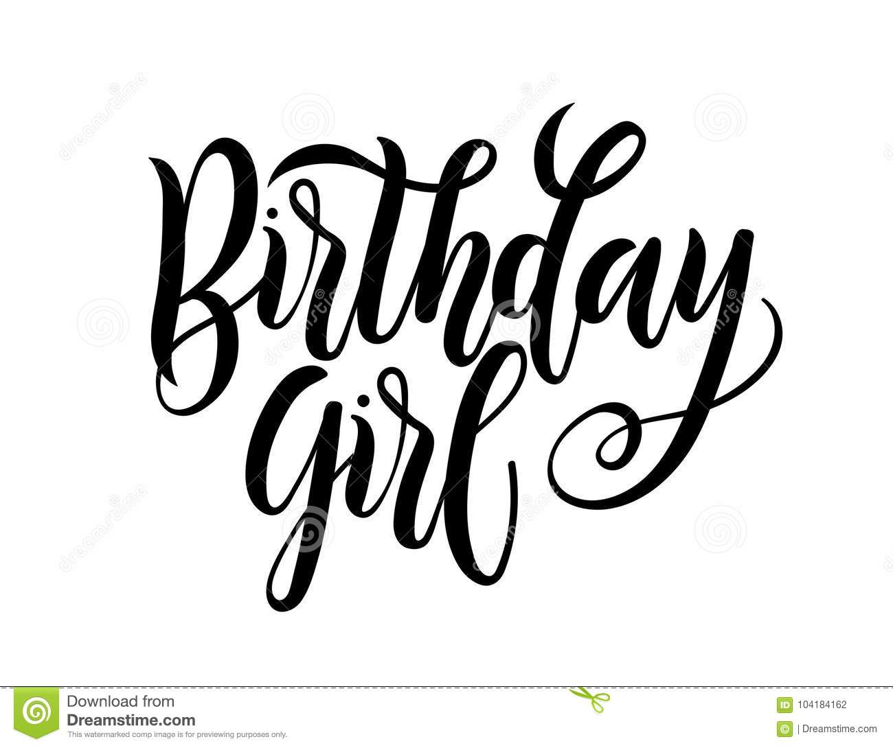 Birthday Girl Lettering Greeting Card Sign Design For