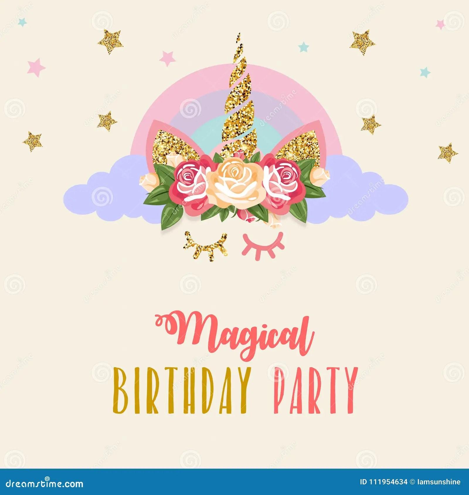 https www dreamstime com birthday invitation unicorn cute gliter flowers closed eyes image111954634