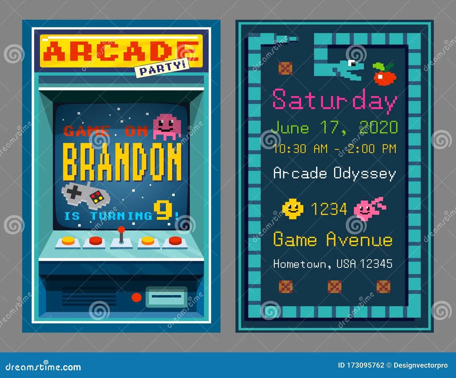 https www dreamstime com birthday party invitation retro style pixel art vector illustration slot machine time place celebration event flat image173095762