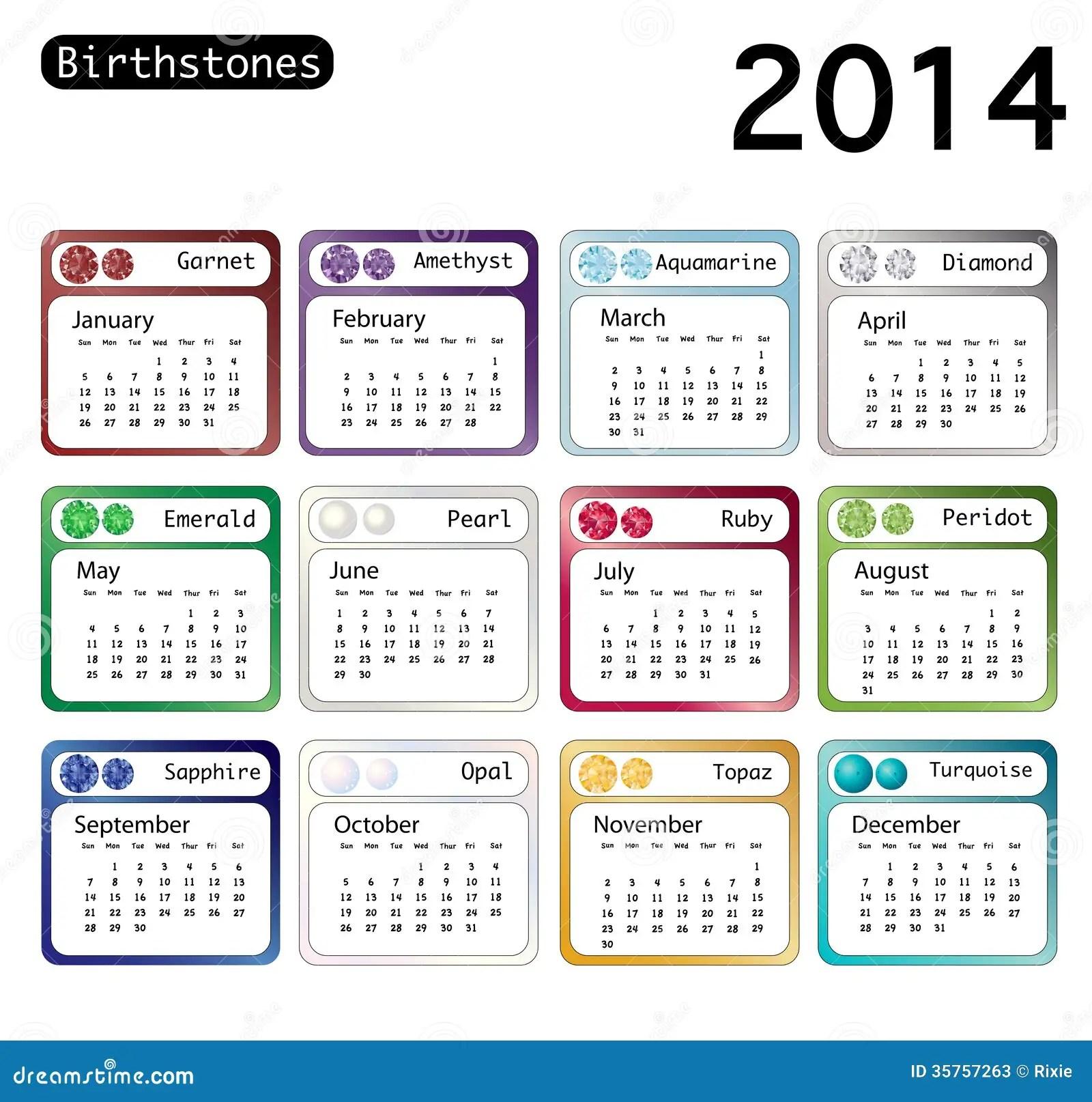 Birthstone Calendar 2014 Stock Illustration Image Of