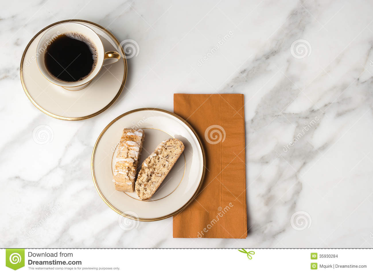 Biscotti On A Plate With A Cup Of Coffee Stock Images Image 35930284