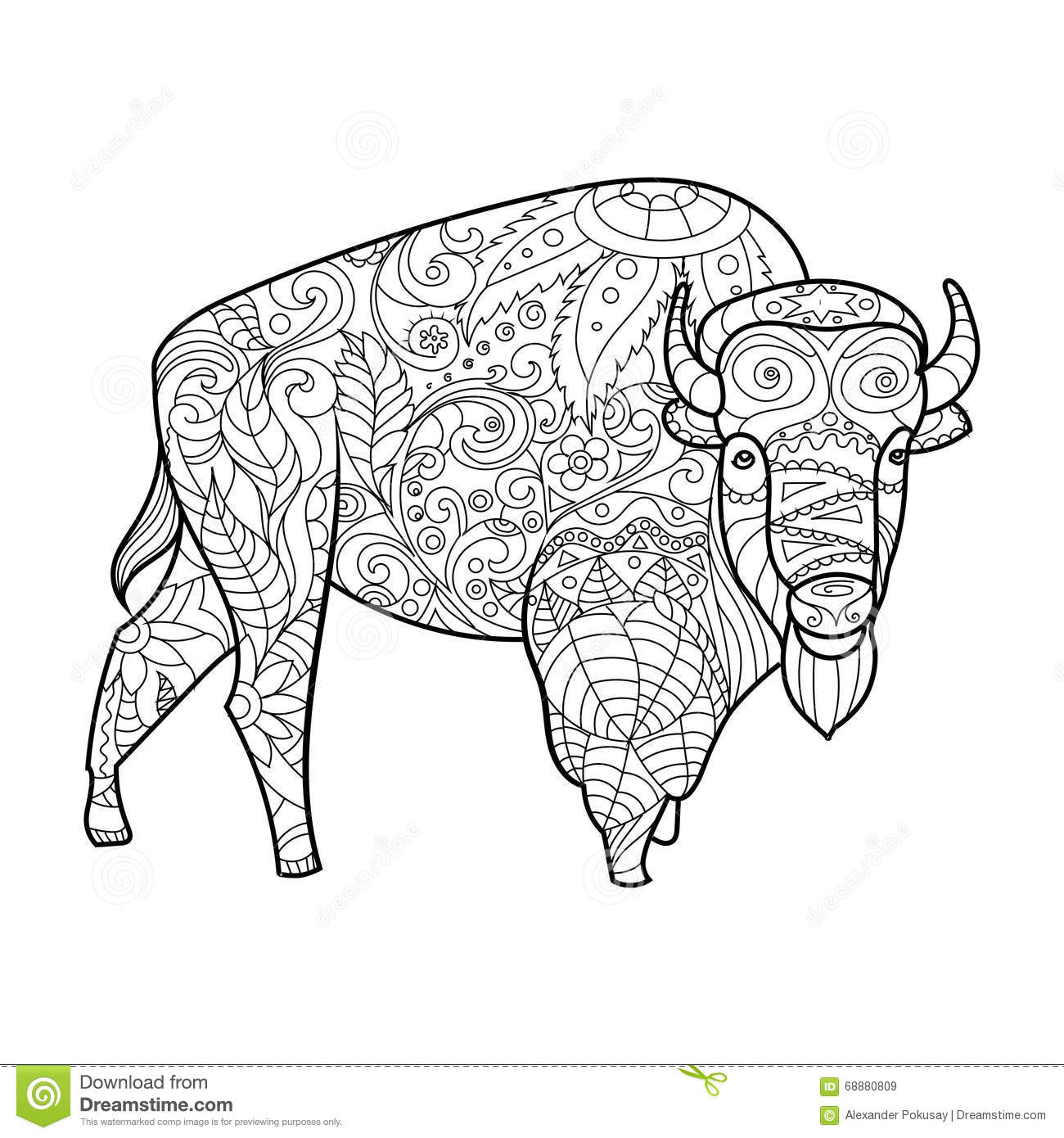 Bison Animal Coloring Book For Adults Vector Stock Vector