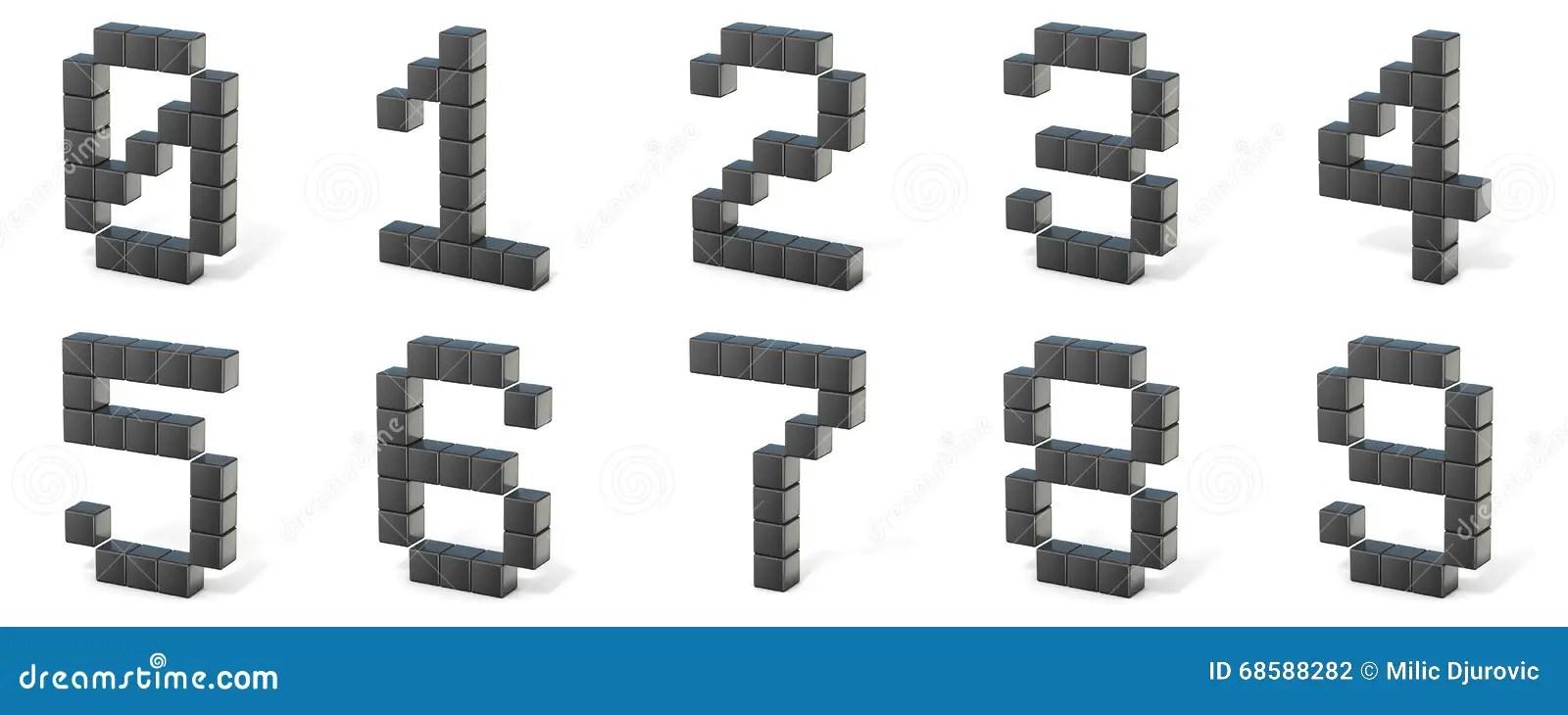 8 bit font. Numbers. 3D stock illustration. Illustration