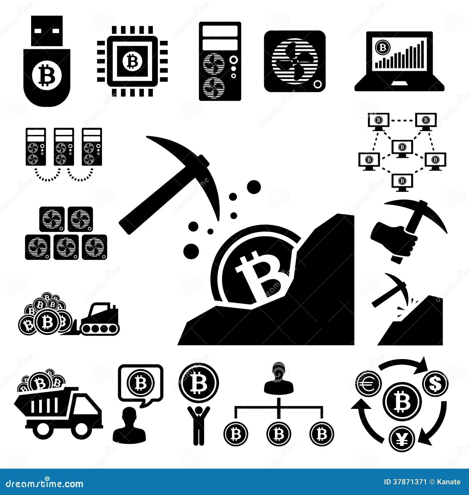 Bitcoin Icons Set Stock Image