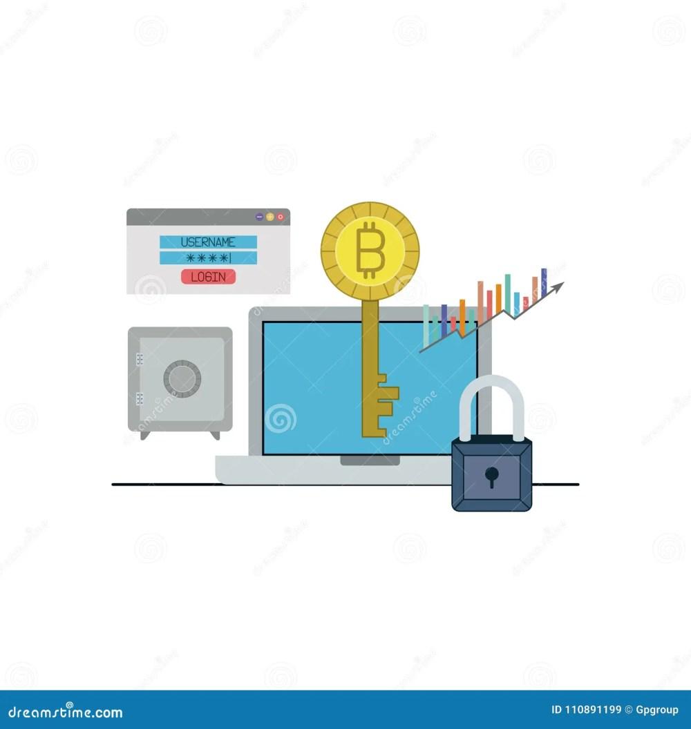medium resolution of bitcoin key login closeup with laptop computer and safe