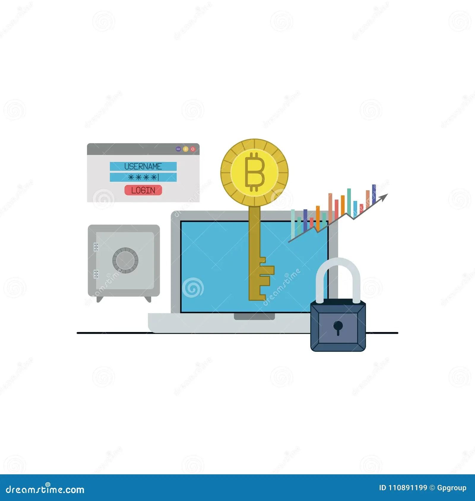 hight resolution of bitcoin key login closeup with laptop computer and safe