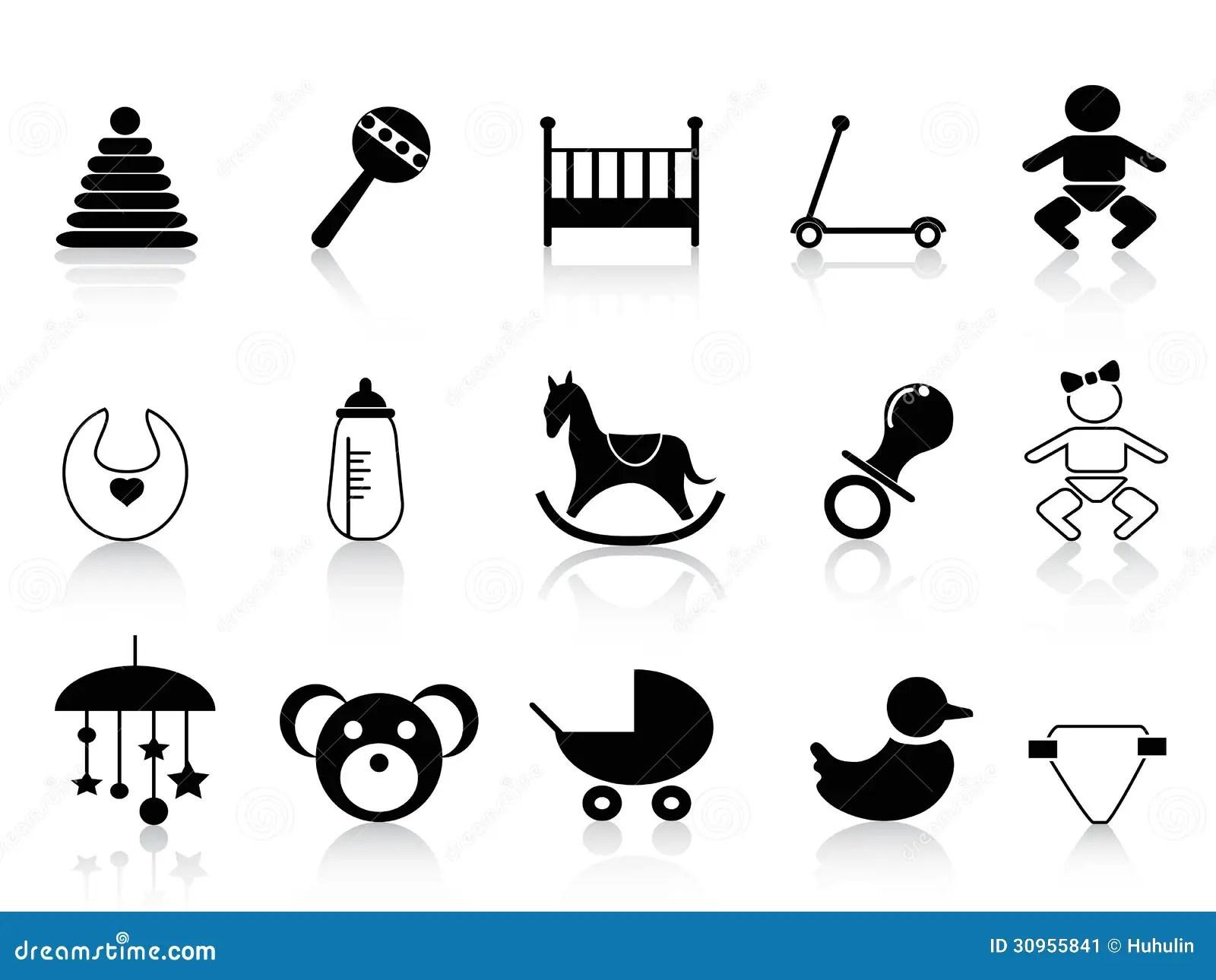 Black Baby Icons Set Stock Image