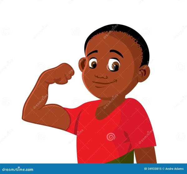 Black Boy Strong Flexing Cartoon Vector Cartoondealer