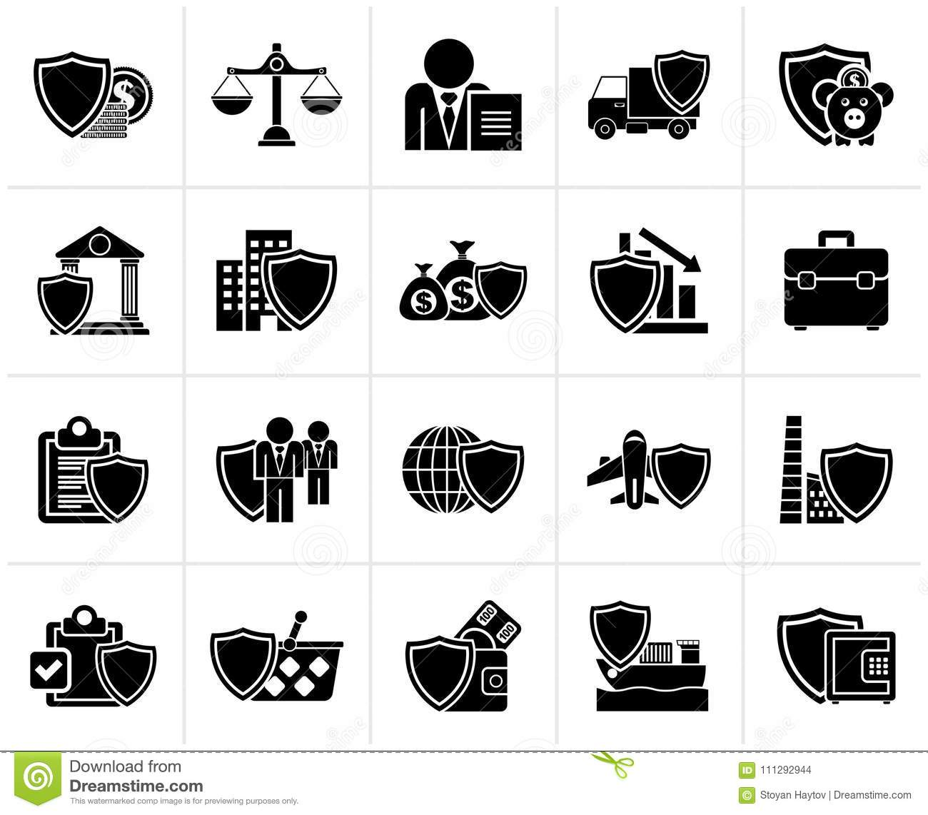 Black Business And Industrial Insurance Icons Stock Vector