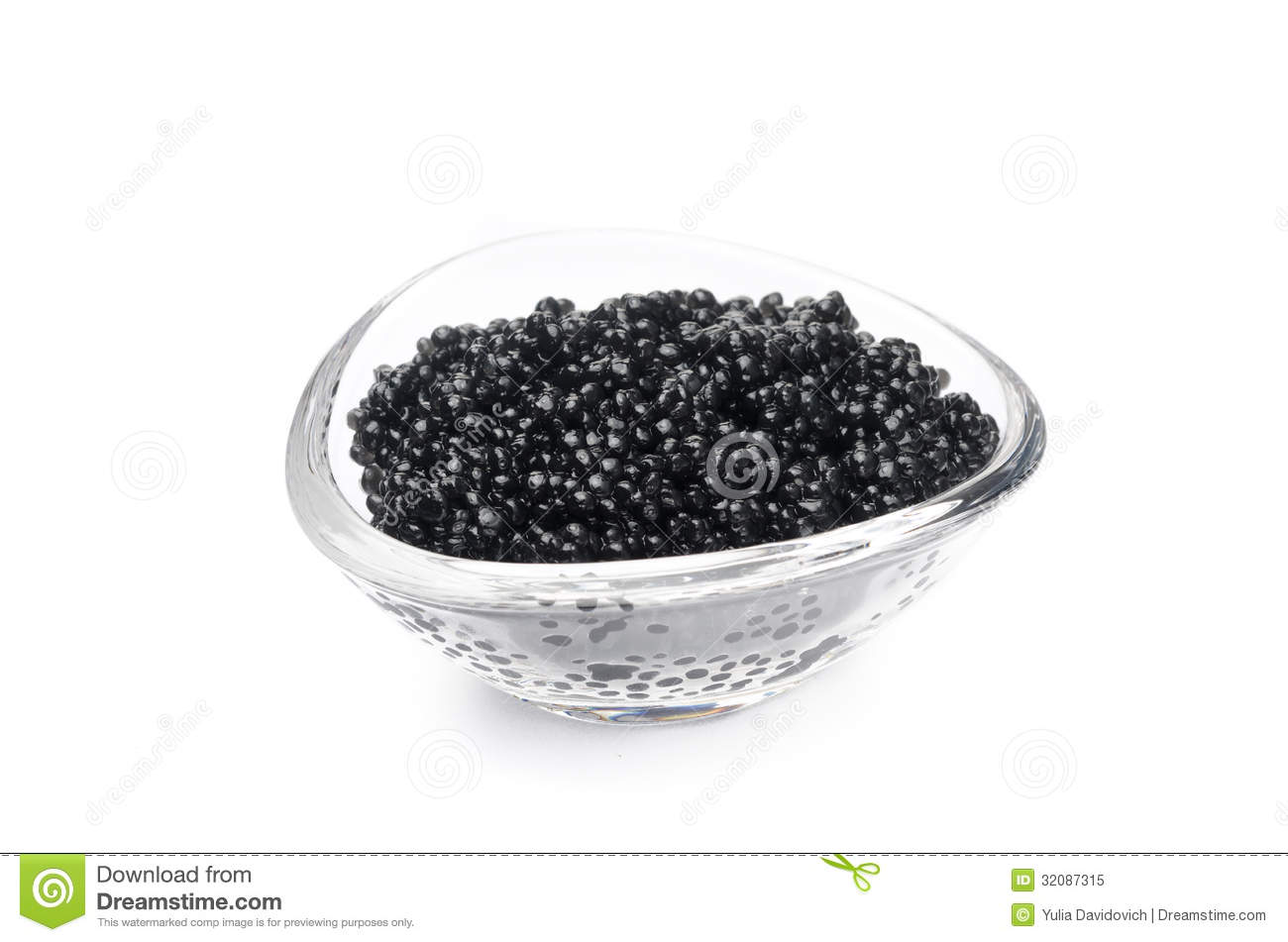 Black Caviar In A Glass Bowl Isolated On A White