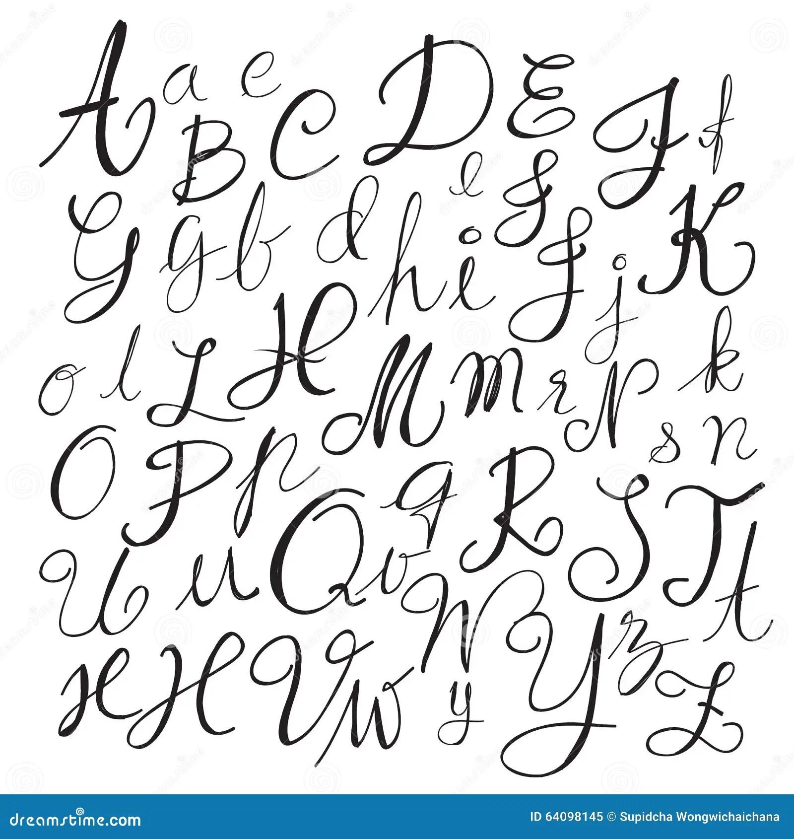 Black Chalk Pencil Alphabet LettersHand Drawn Written